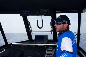 Skipper Ben Sandman At Helm Of Bar Crusher 670HT Fishing Boat Marlin