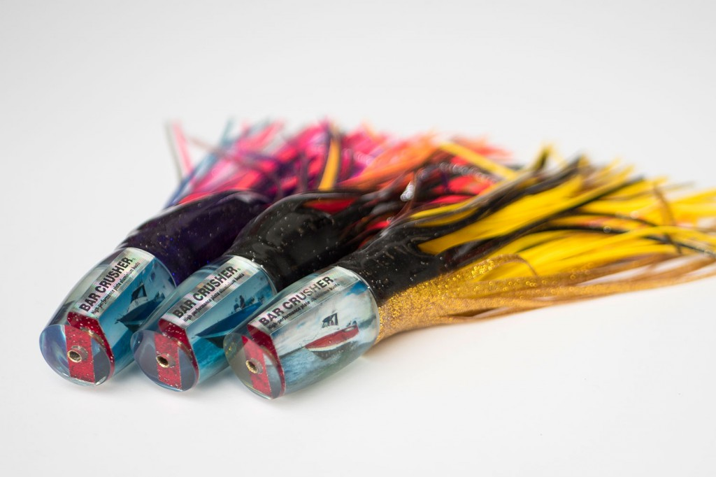 Three Custom Bar Crusher Marlin Lures for Game Fishing